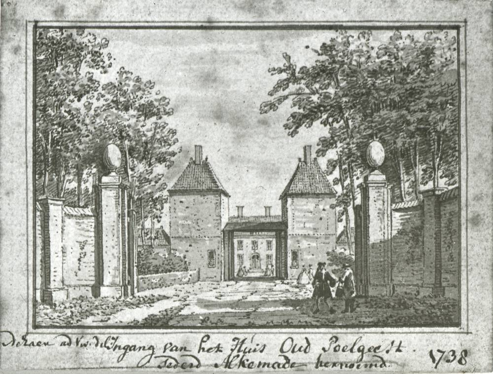 Kasteel Oud Poelgeest in Oegstgeest. Tekening Abraham de Haen